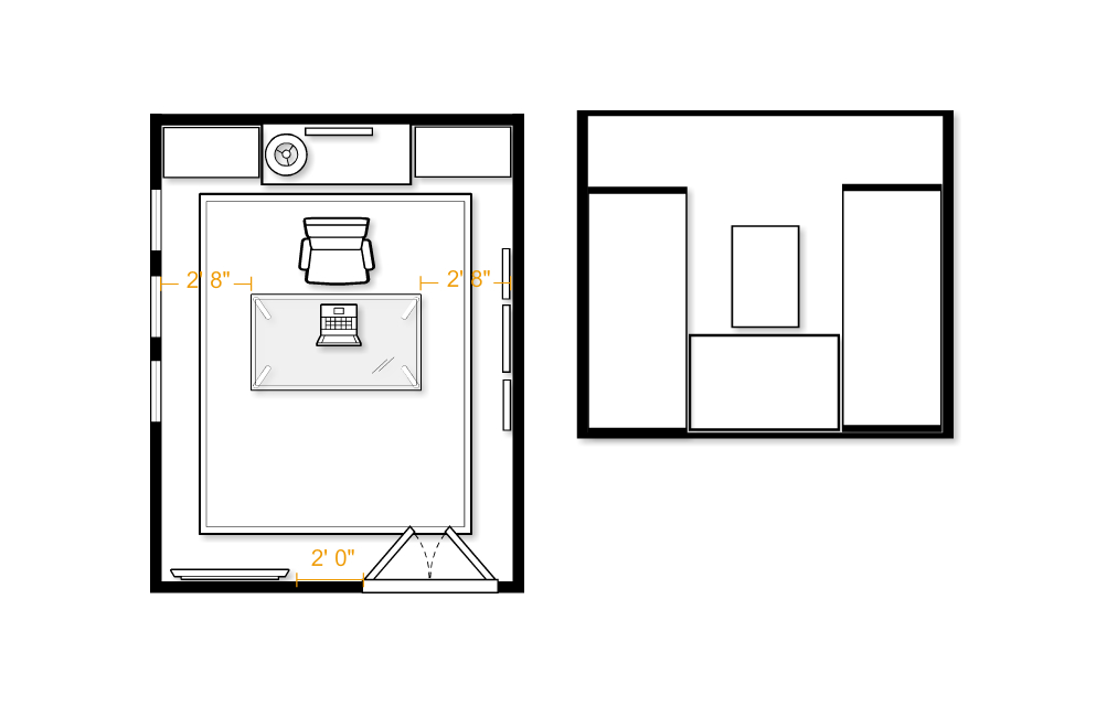 office room plan. Will Be Come The Focal Point Of Room As It Hangs Between Bookshelves. You Can See Elevation Back Wall To Right Floor Plan. Office Plan Y