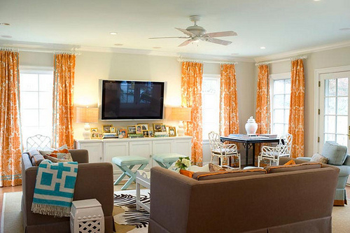 Turquoise and orange living room - Turquoise curtains for living room ...