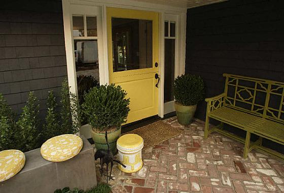 Yellow front door - Gray house yellow door ...