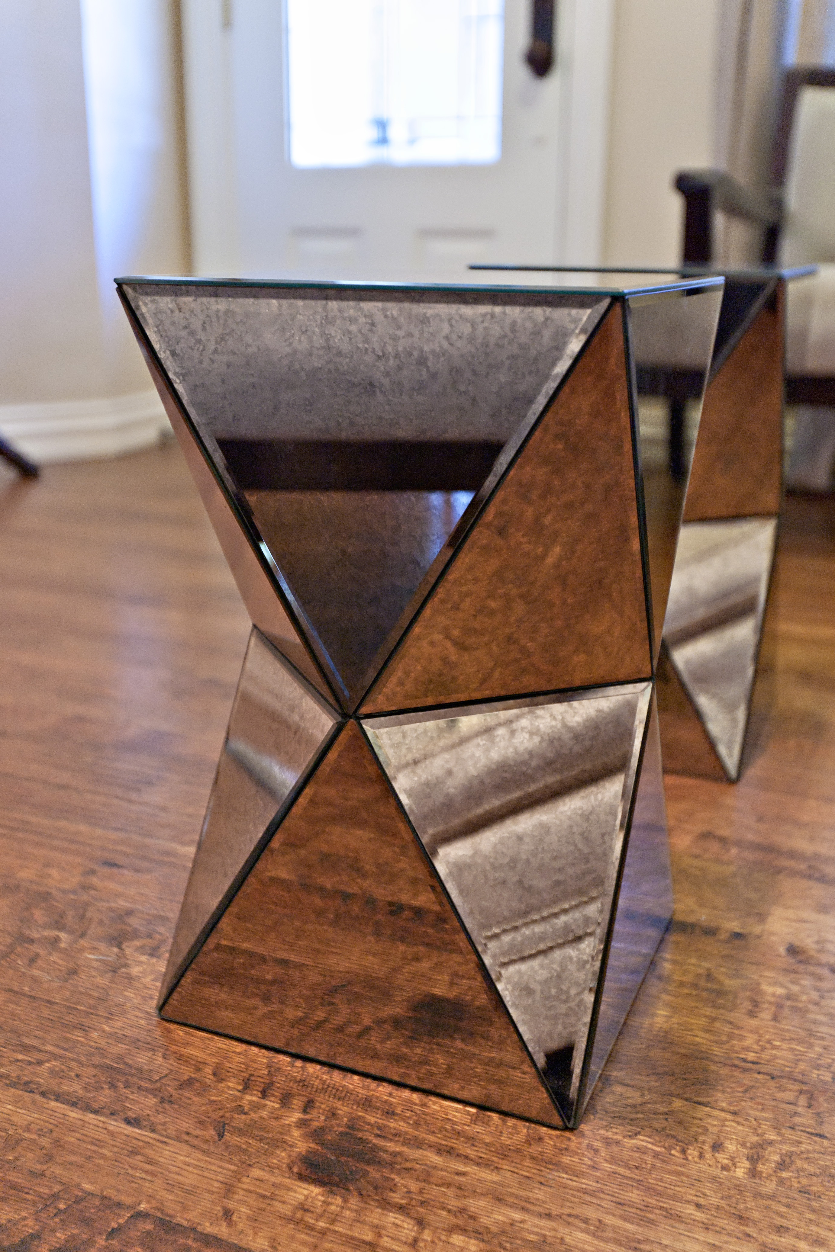West Elm Faceted Mirrored Side Tables - West elm mirrored side table