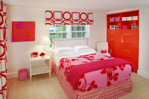 Orange and pink rooms Simple teenage girl room ideas