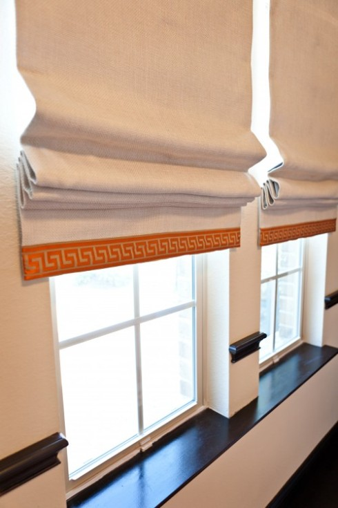 Roman Shades With Greek Key Trim
