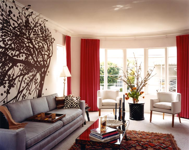 Design Living Room Grey Sofa Couch Red Drapes Curtains Brown Tree